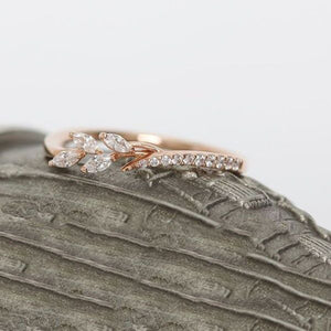 Danity Leaf Crystal Engagement Ring