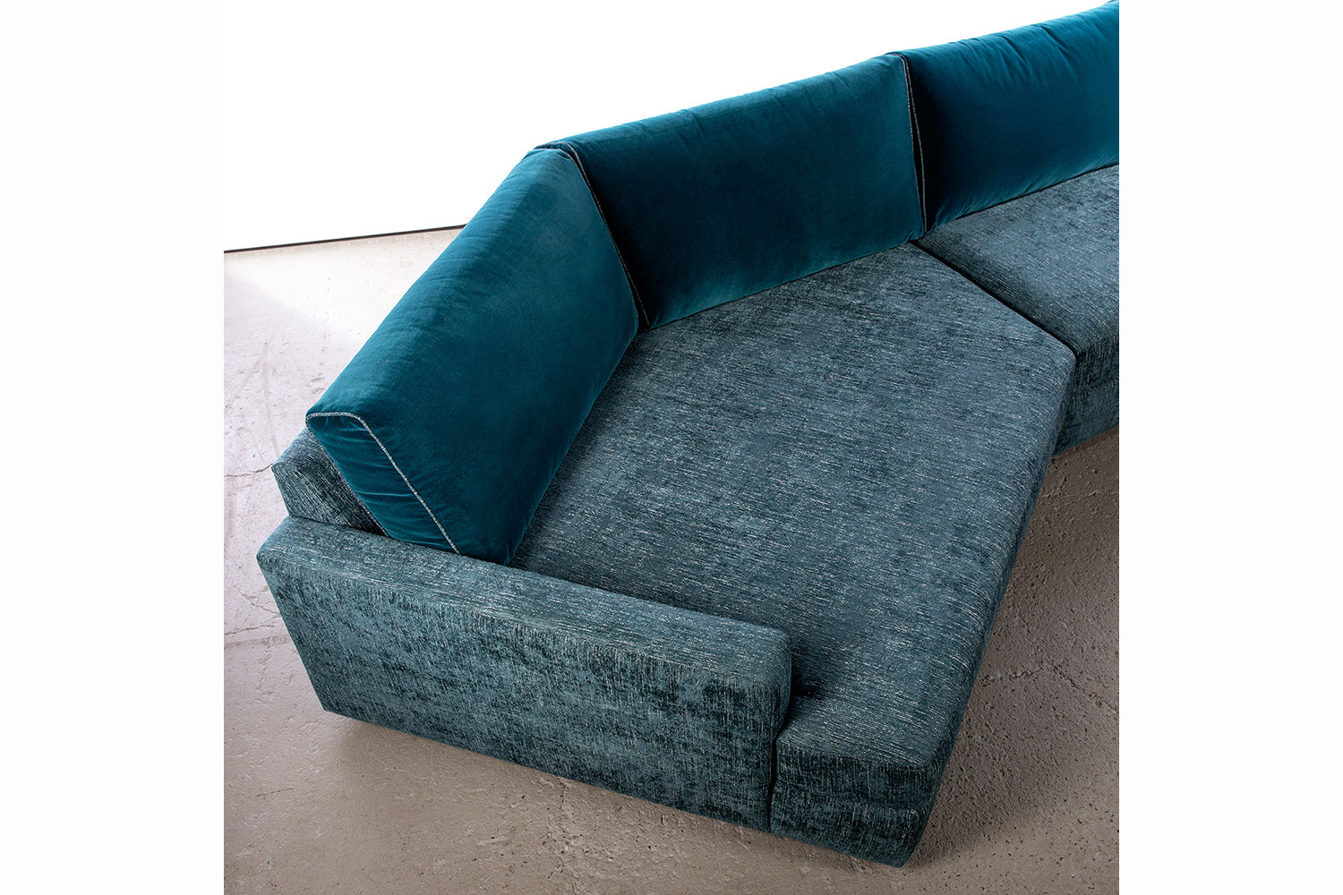 ffabb Coasty Slim modular Sectional in peacock mohair top view