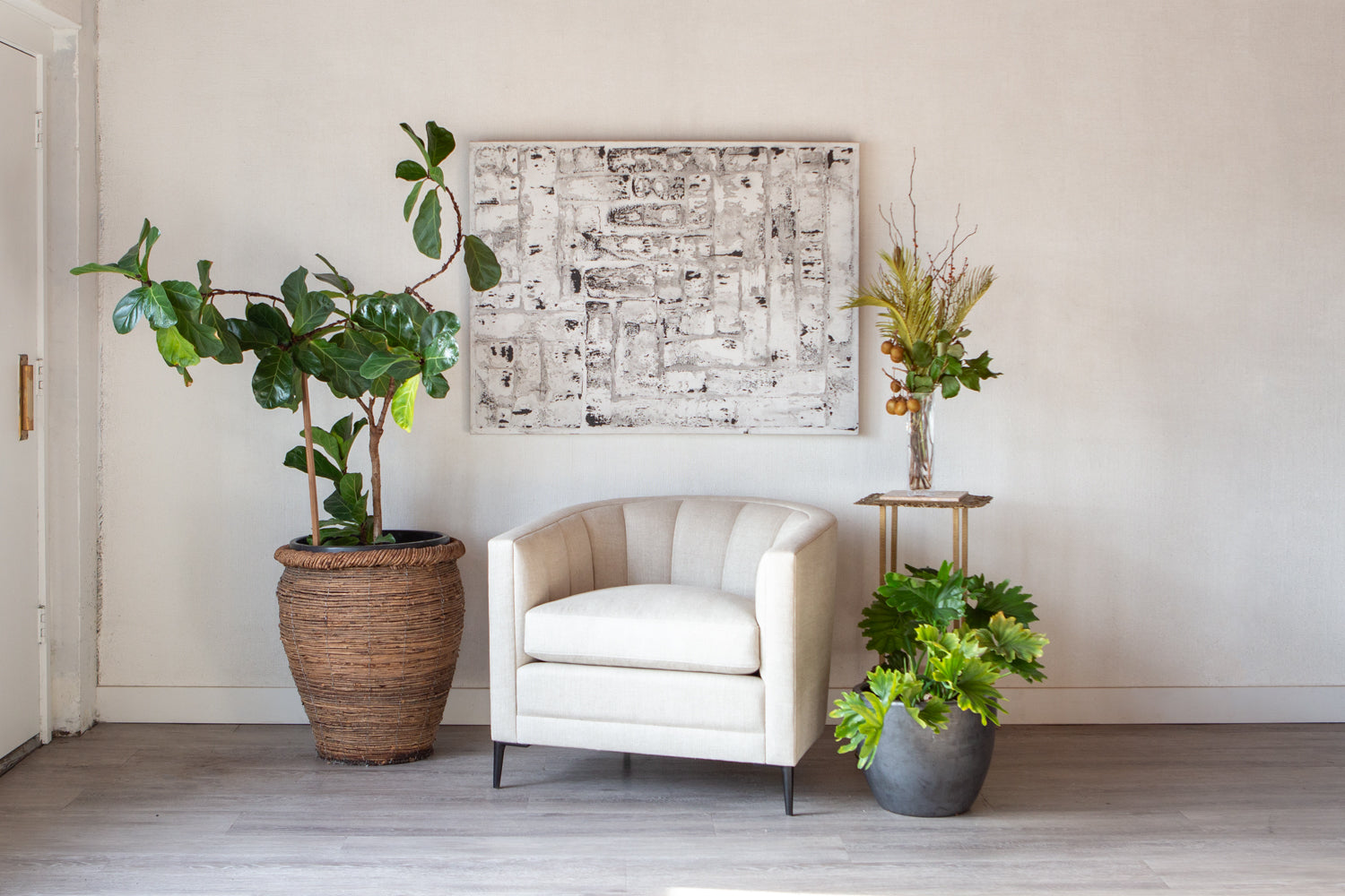 Coco Chair by ffabb home, shown in room scene, styled with plants