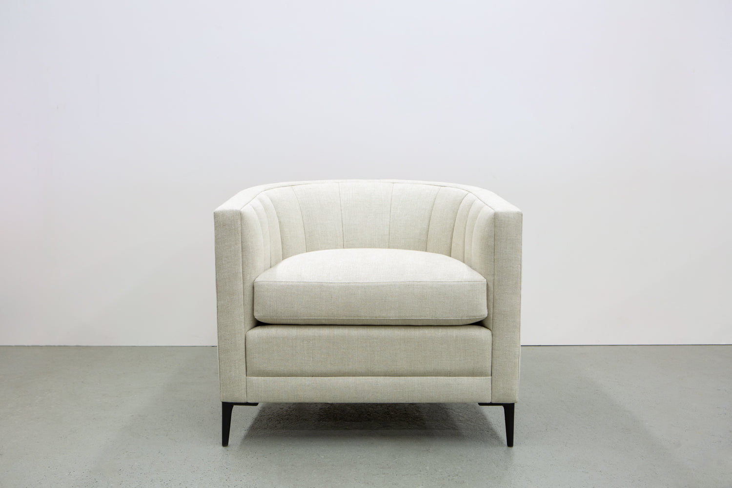 Product shot of the ffabb home Coco Chair upholstered in Linen - Oatmeal