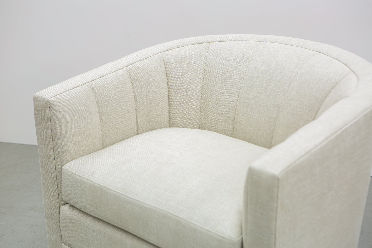 Side, top view of ffabb home Coco Chair inside channel back upholstered in Linen- Oatmeal