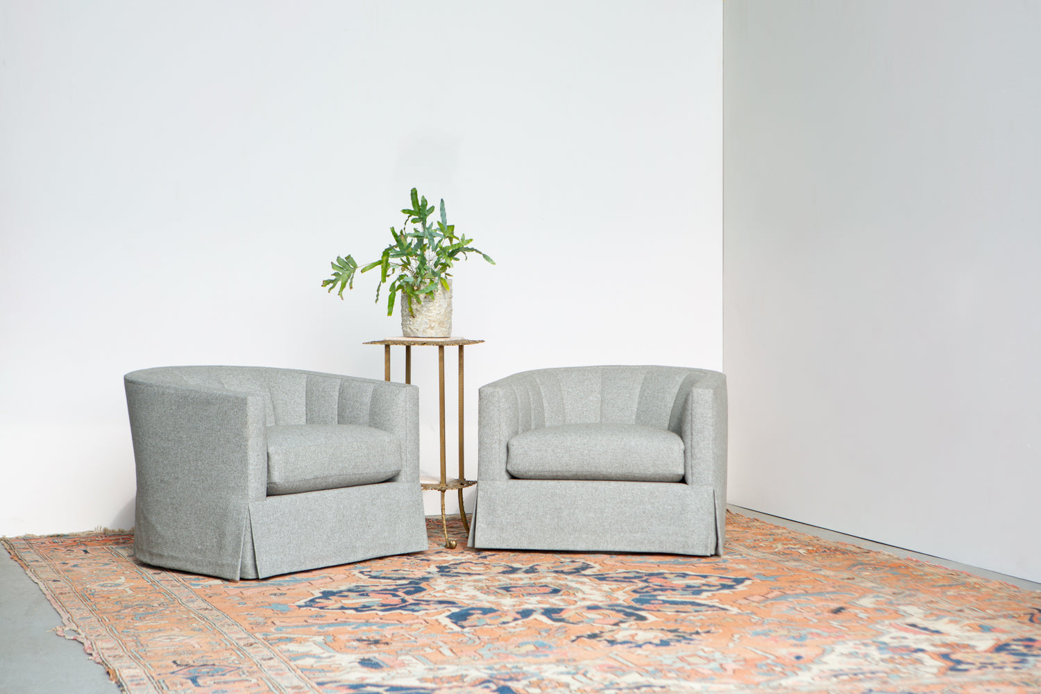 Product shot of two Coco Swivel chairs by ffabb home