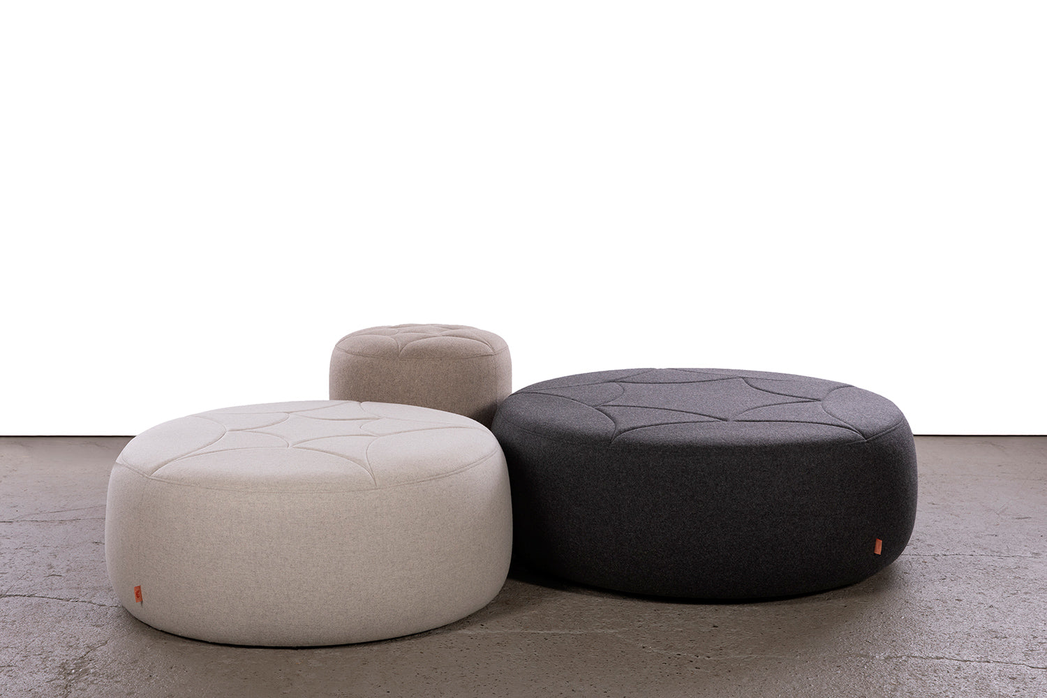 ffabb 3's companee ottoman, wool blend quilted seats