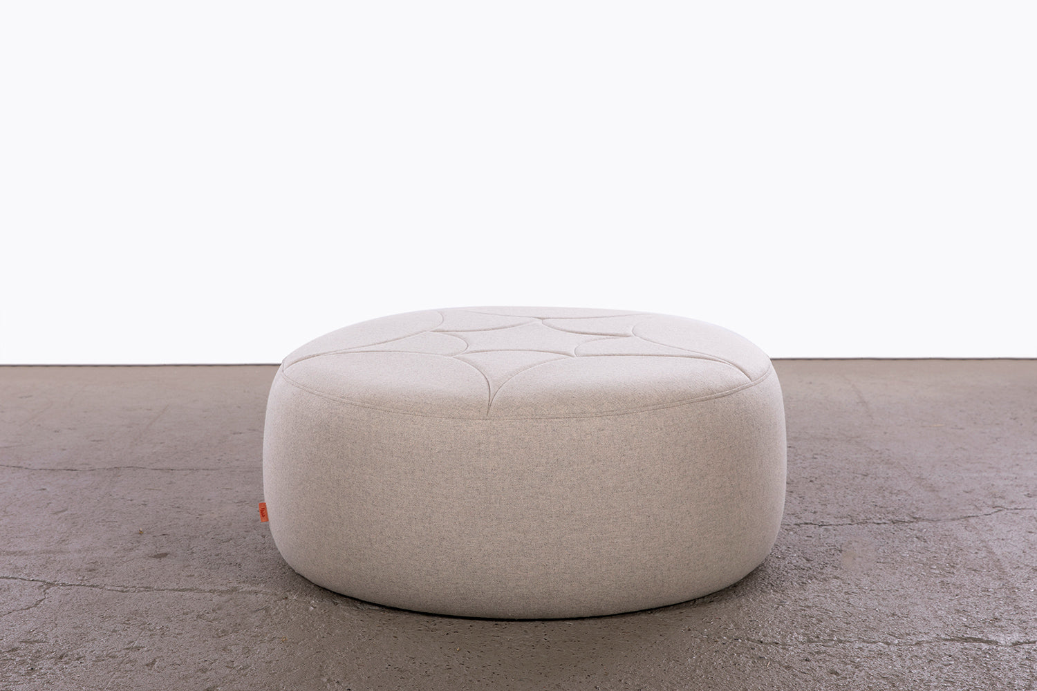 medium 3's companee ottoman, dove grey wool fabric