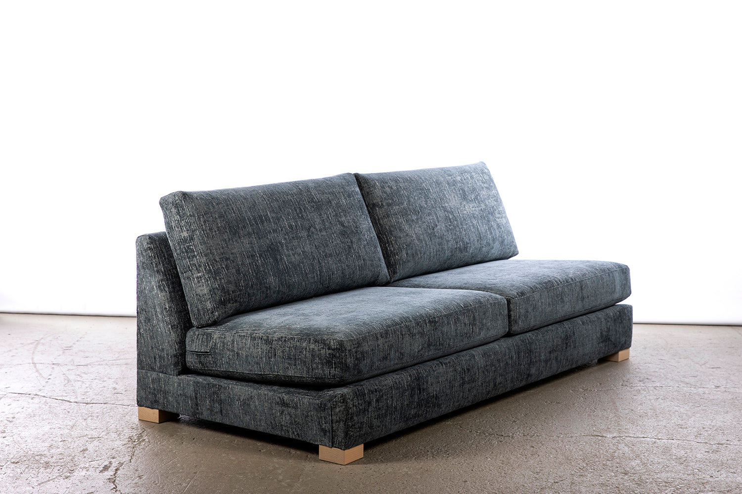 ffabb coasty slim - armless sofa in riptide chenille