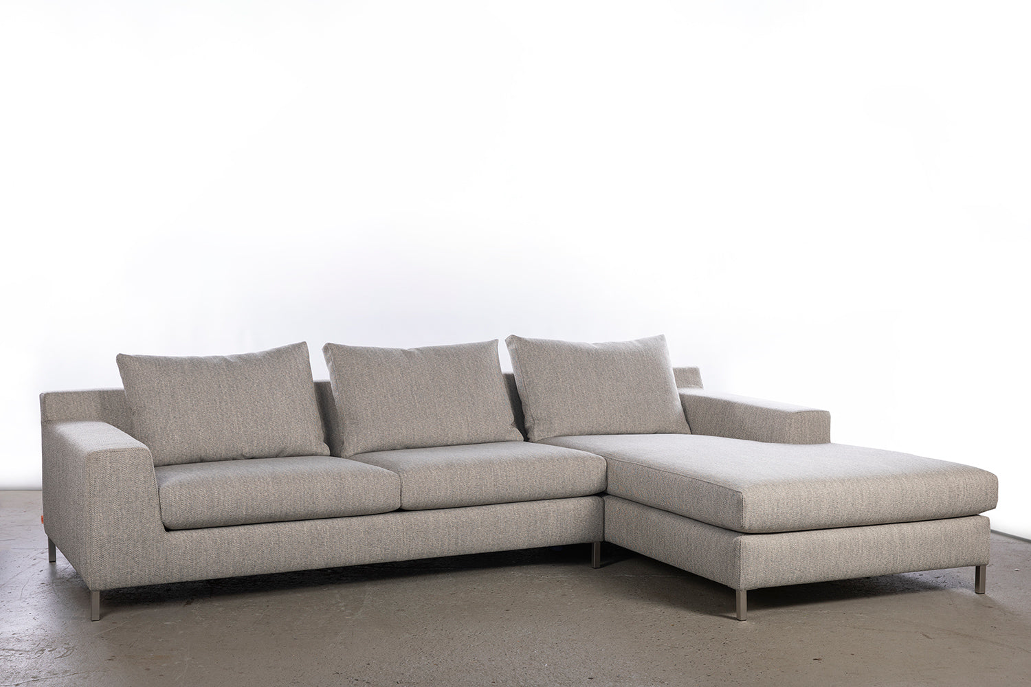 ffabb Brightside Sectional in Heavy Weave Stone Blend fabric