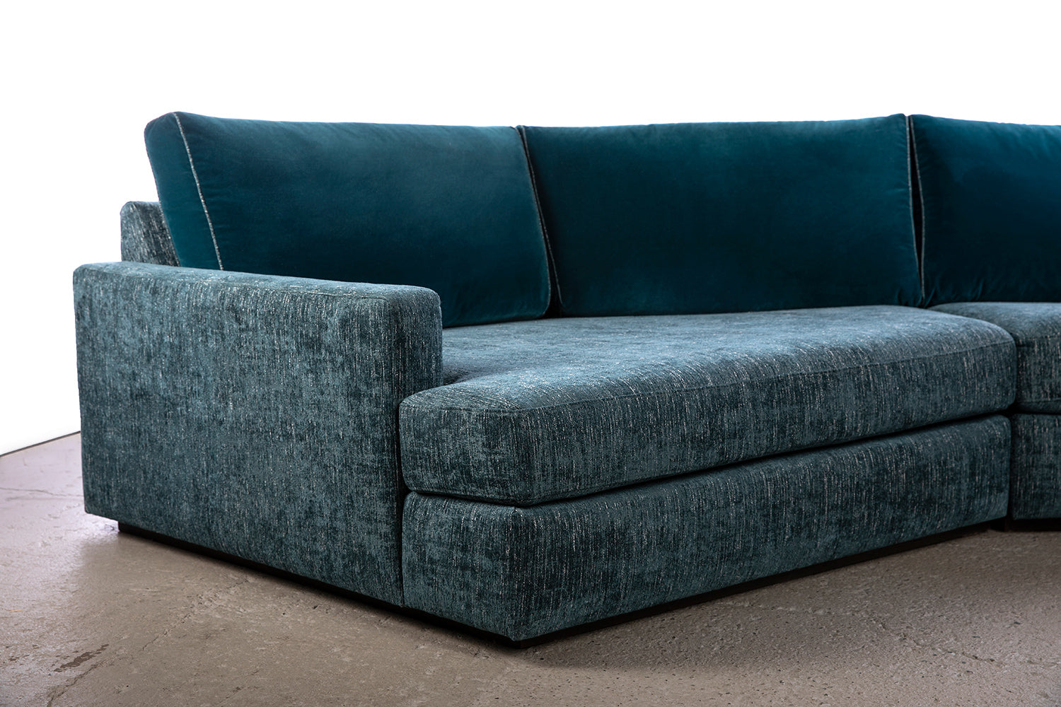 ffabb Coasty Slim modular Sectional in peacock mohair