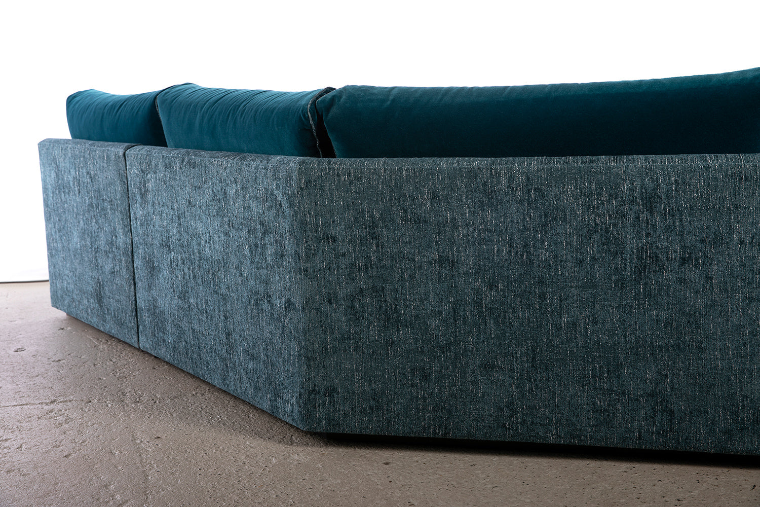 ffabb Coasty Slim modular Sectional in peacock mohair back angle