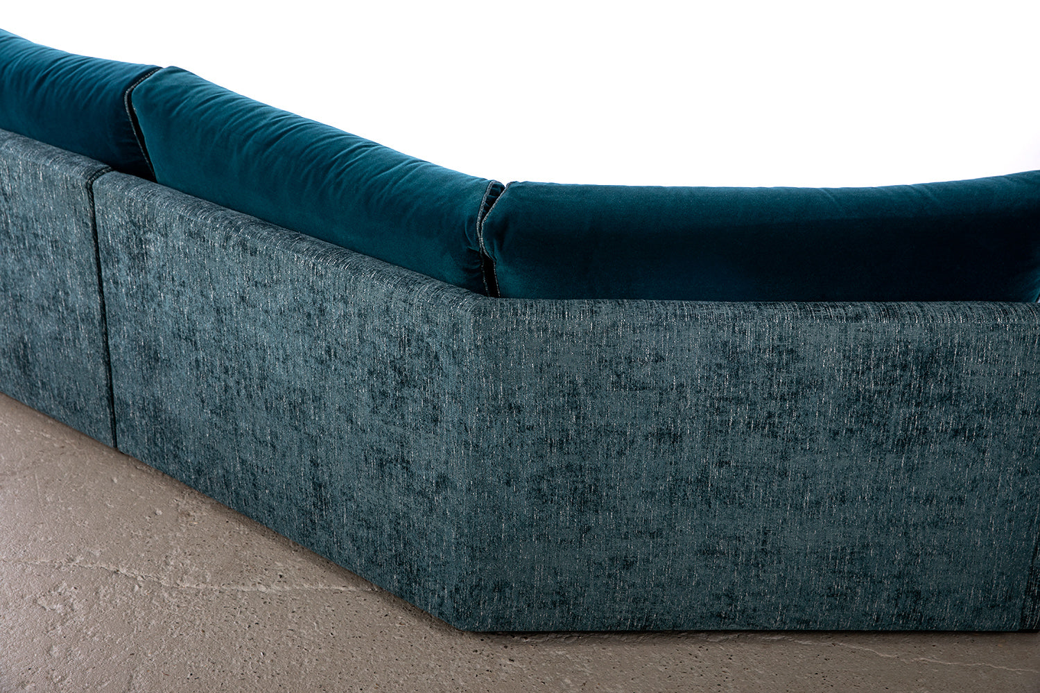 ffabb Coasty Slim modular Sectional in peacock mohair back angle corner