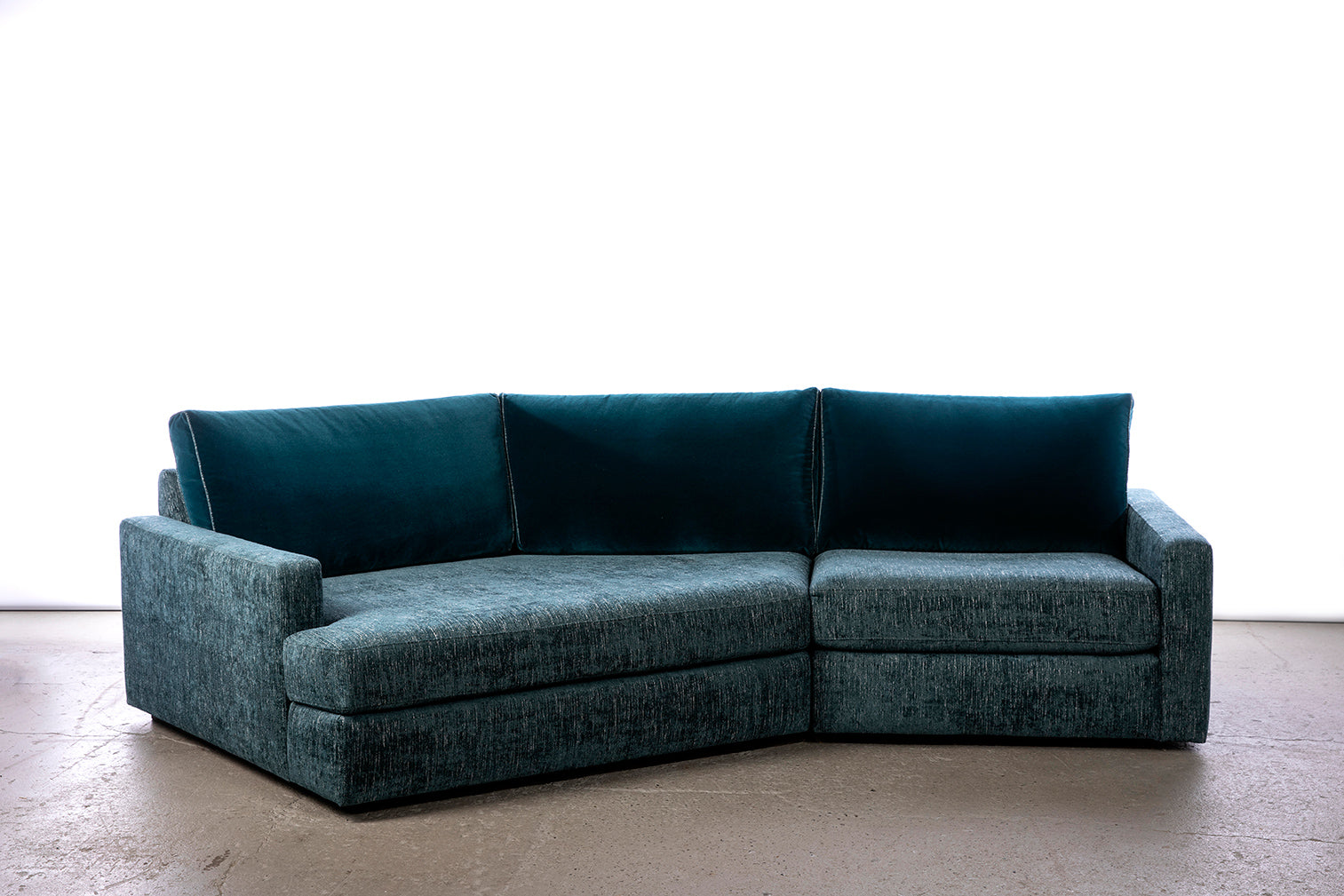 ffabb Coasty Slim Modular Lagoon Small LHF Sectional Sofa in peacock mohair/chenille