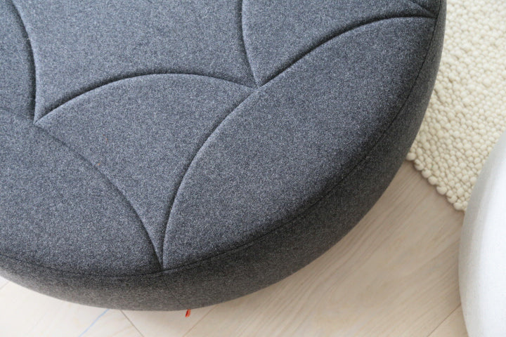 3's companee ottoman, stitch detail top view