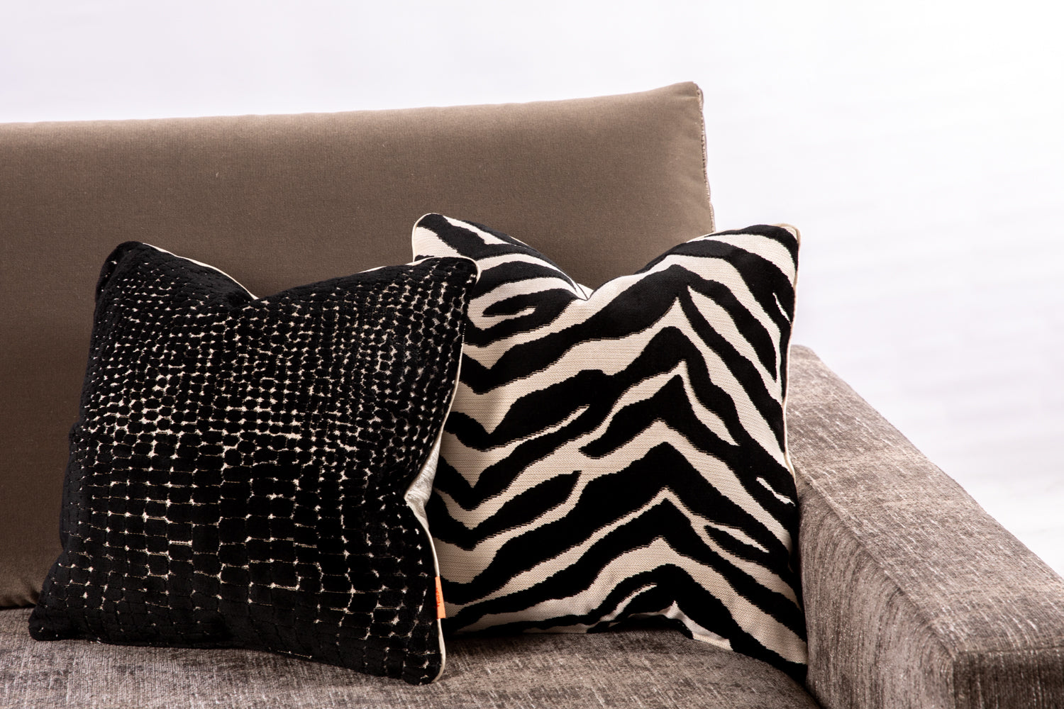 ffabb toss pillows, Maxwell animal print velvet fabric with piped trim