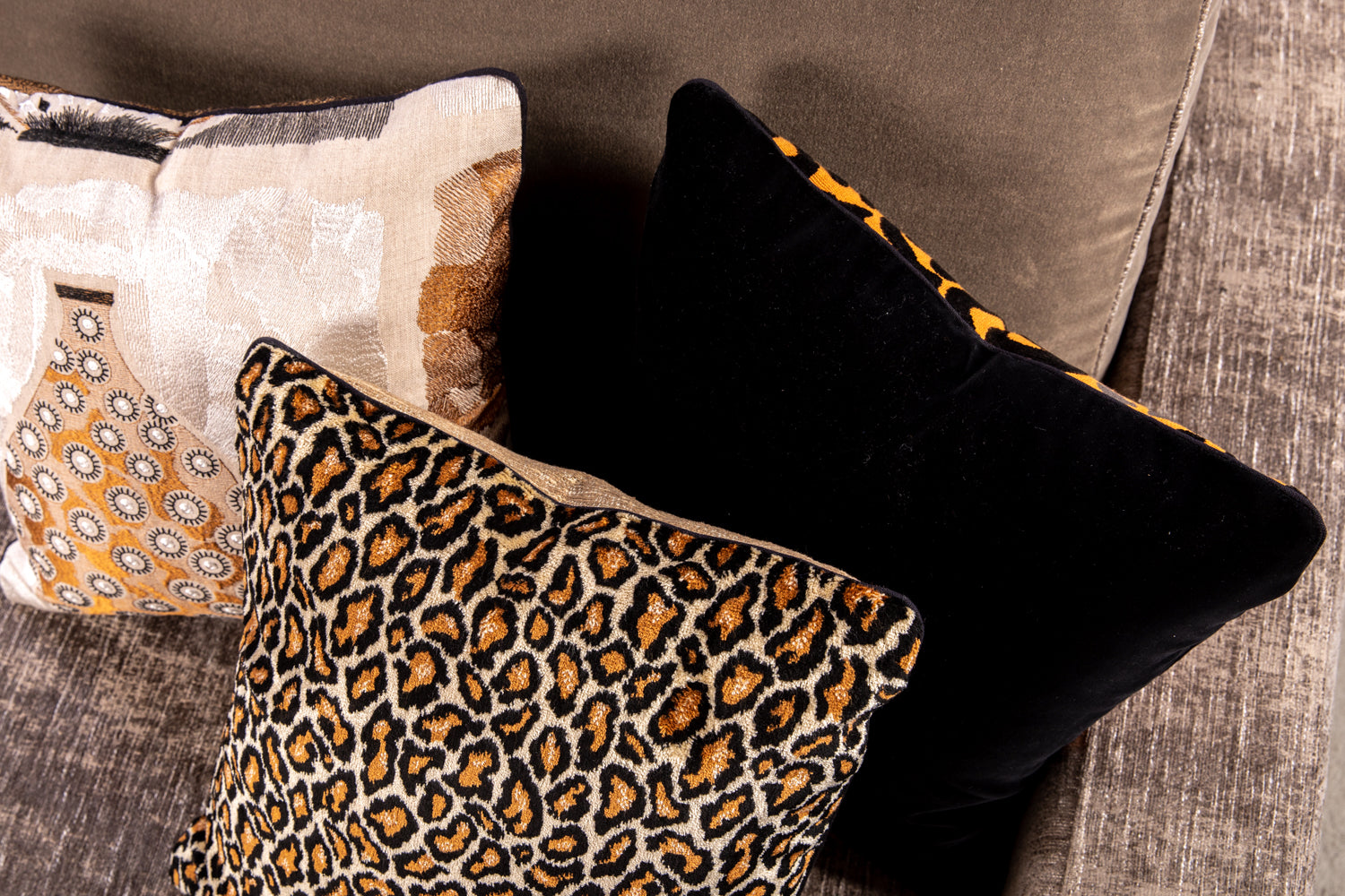 ffabb toss pillows, RADG & Maxwell fabrics, velvet animal print