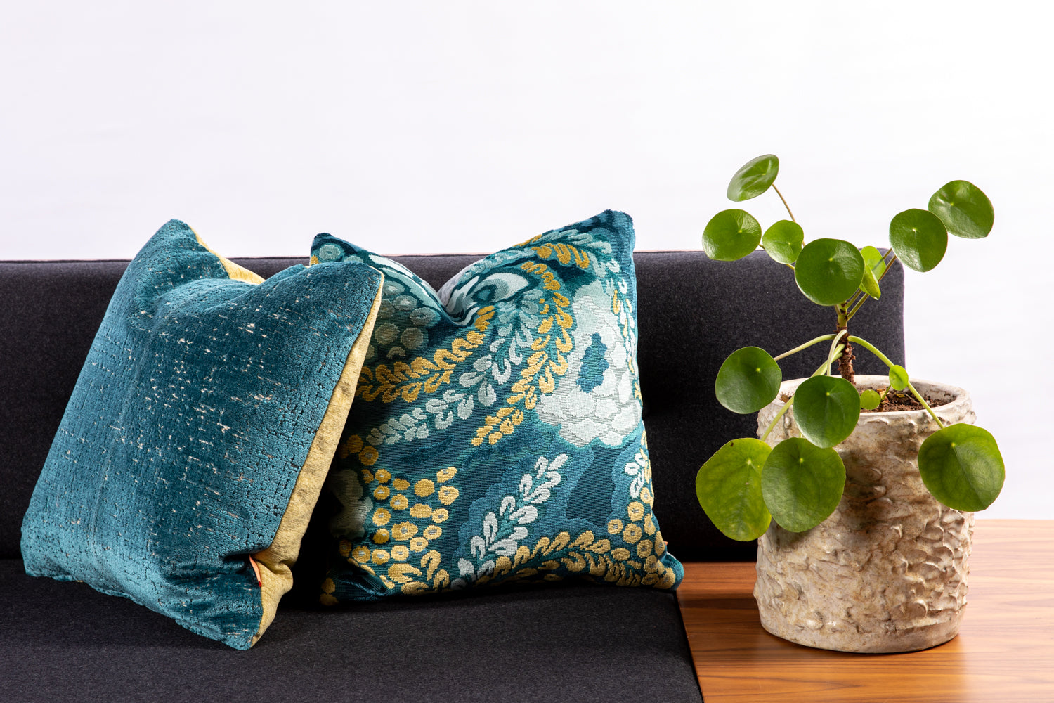 ffabb toss pillows, RADG & Maxwell fabrics, floral, cut velvet