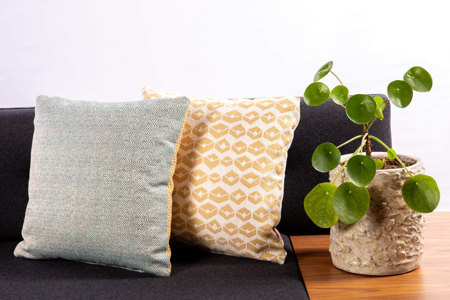 ffabb toss pillows, RADG & Maxwell fabrics, woven small scale pattern