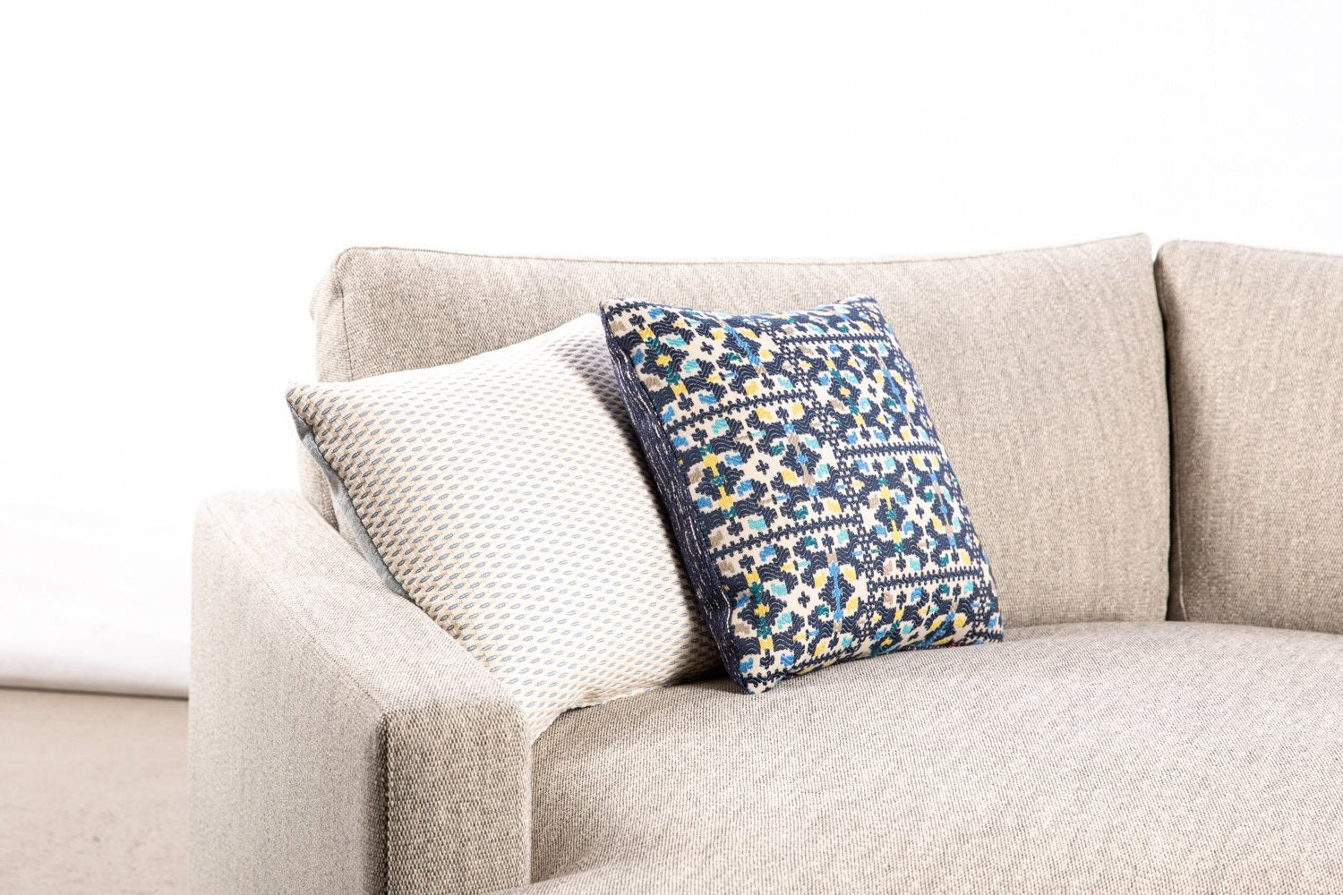 ffabb toss pillows, RADG fabrics, woven small scale pattern