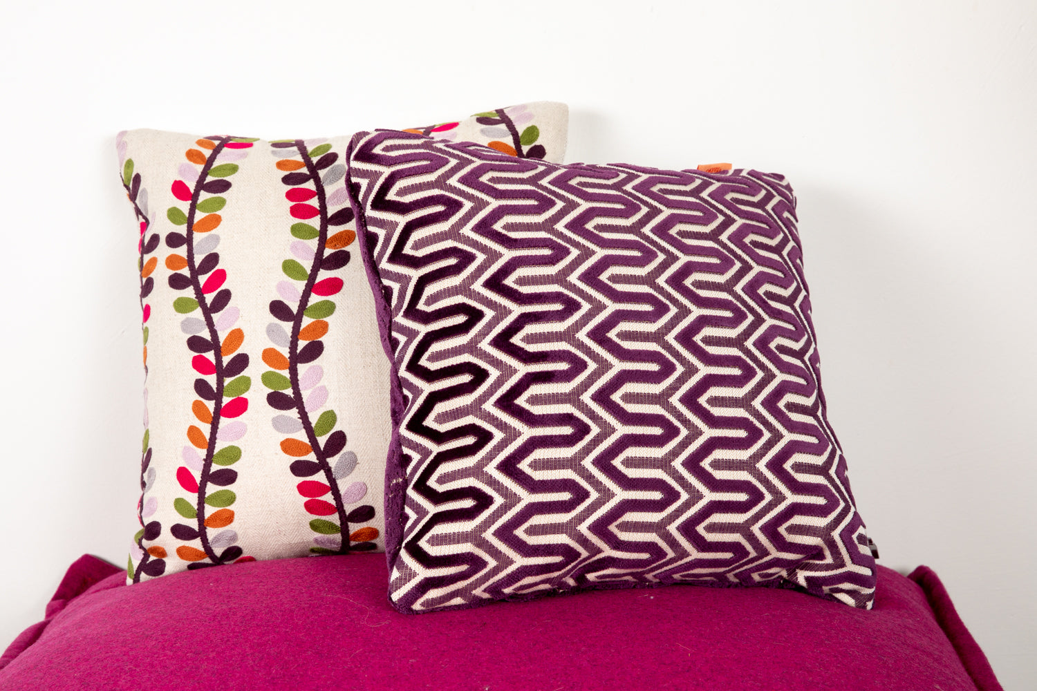 ffabb toss pillows RADG & Maxwell fabrics small scale patten woven velvet