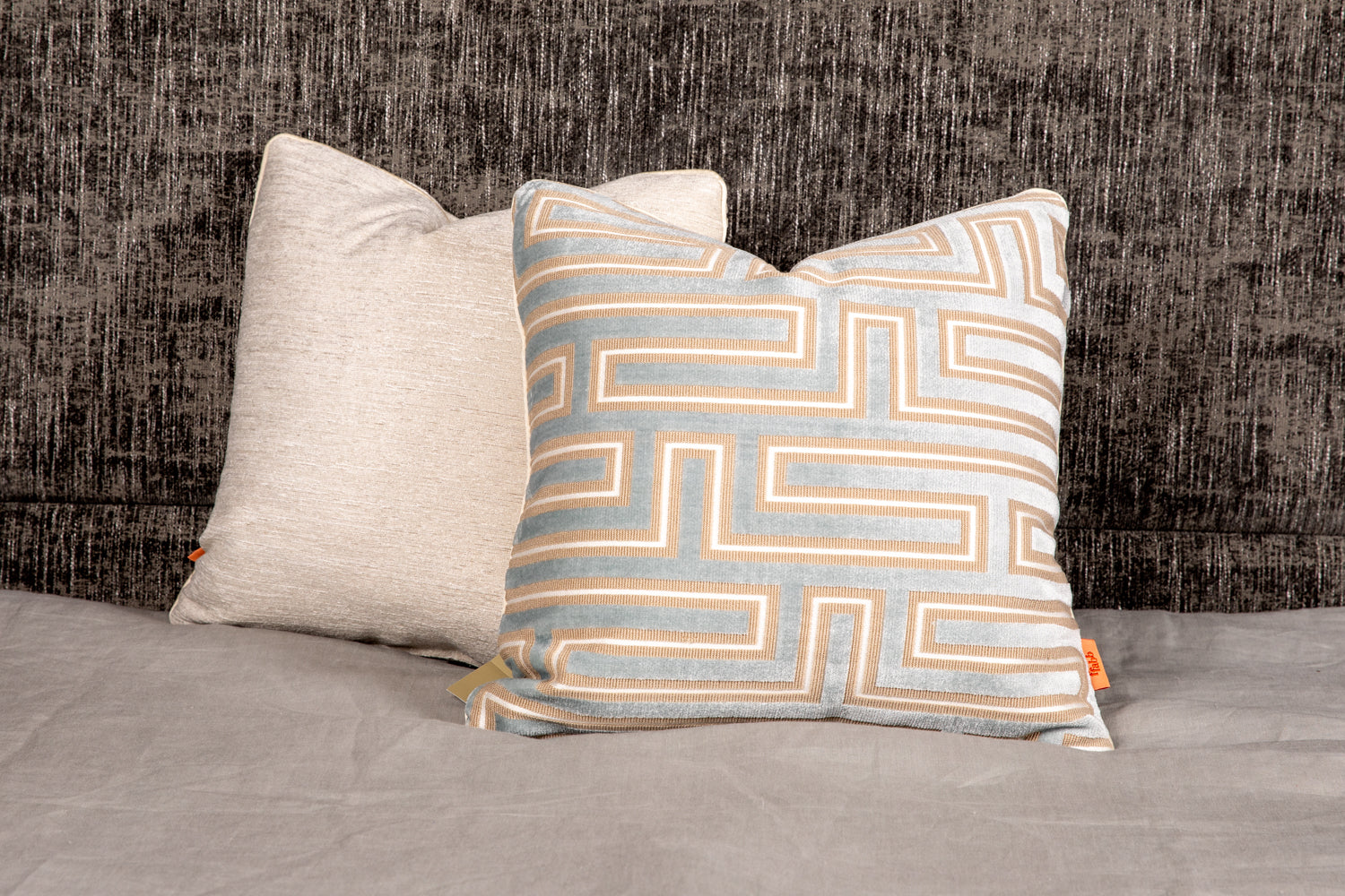 ffabb toss pillows, RADG & Maxwell fabrics, velvet geometric pattern with piped trim