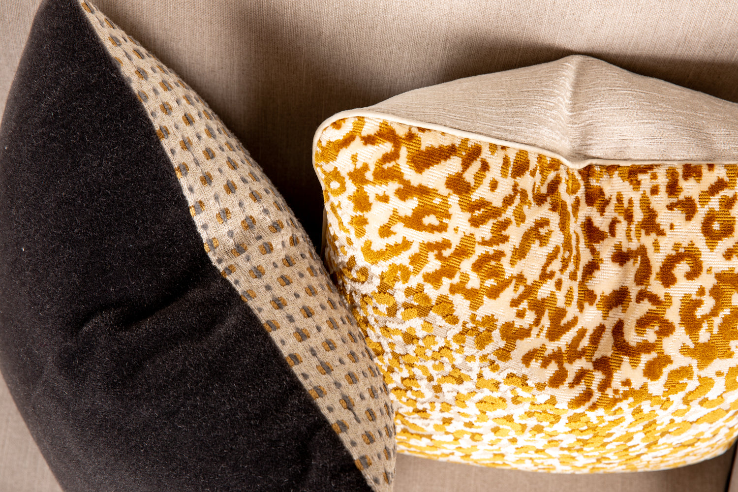 ffabb toss pillows, RADG fabrics, moahir and velvet animal print