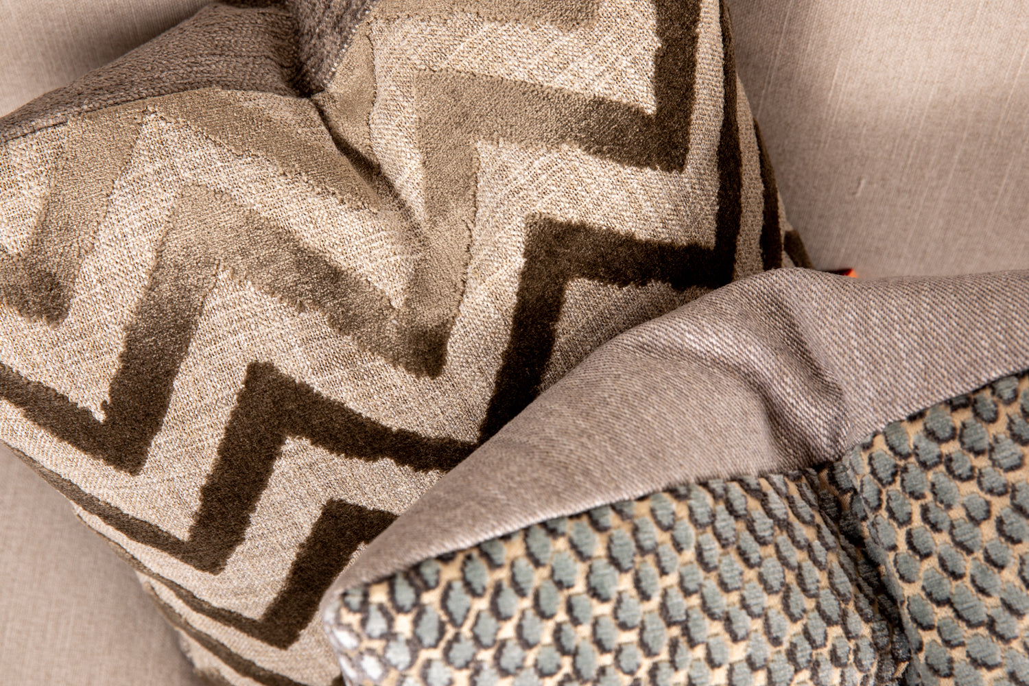 ffabb toss pillows, RADG & Maxwell fabrics, chevron & animal print