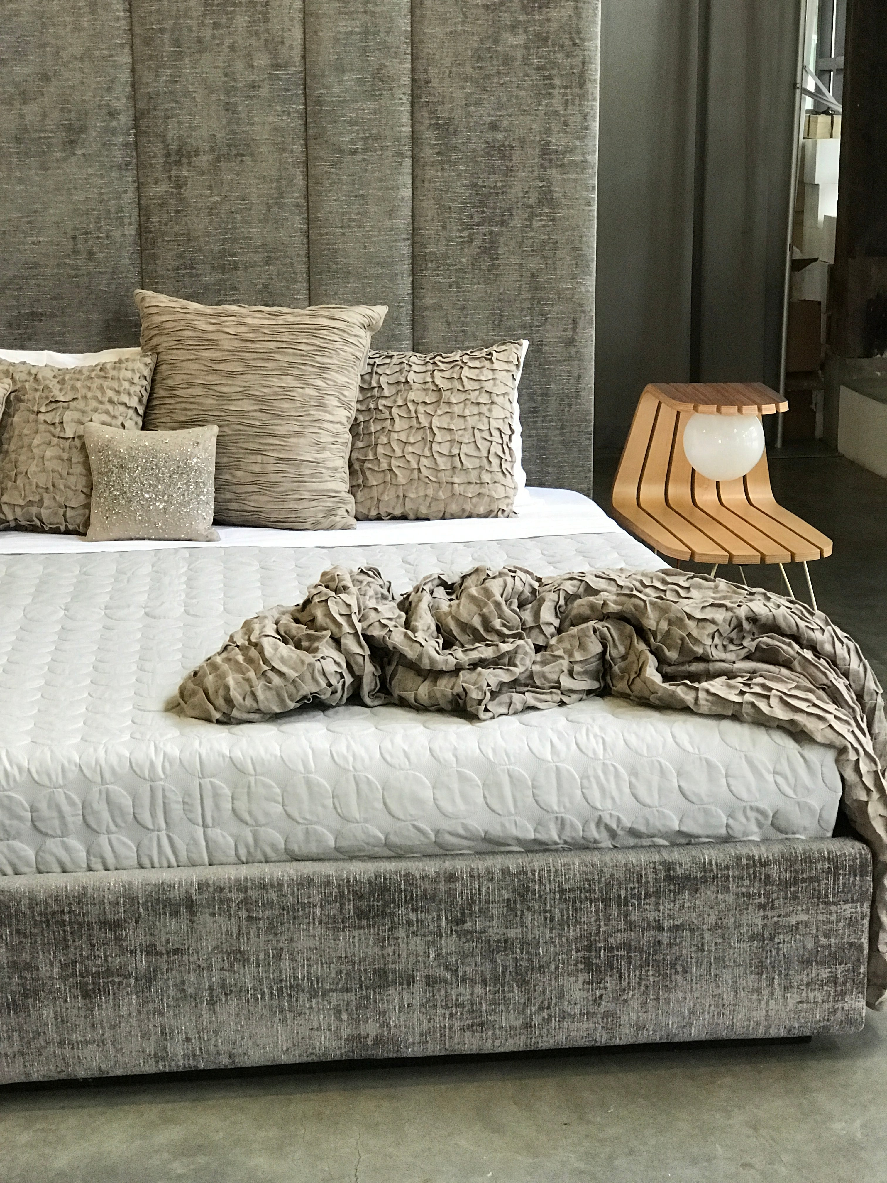 ffabb Hansem Juxtaposed King bed shown in fabric Chenille Driftwood
