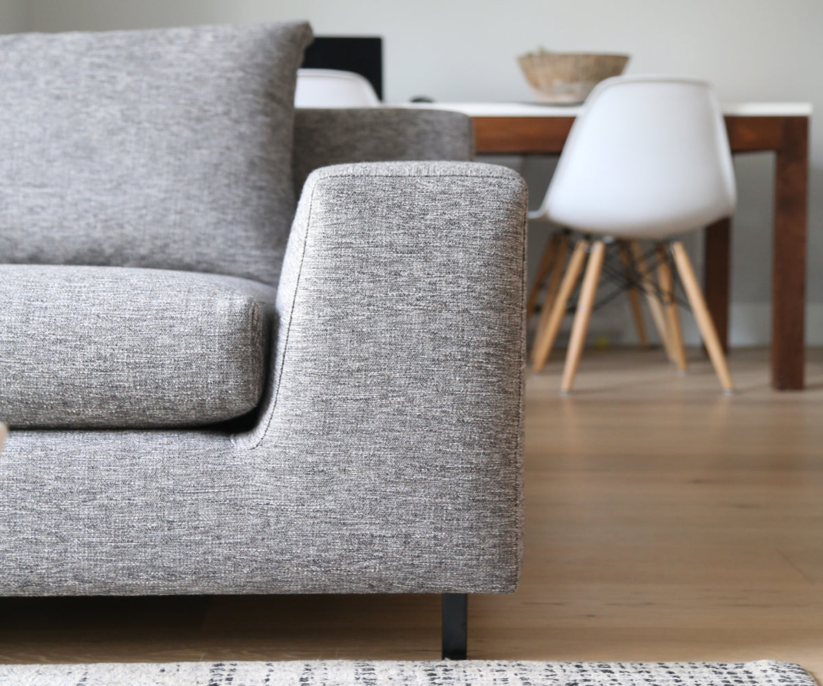 ffabb Brightside Sofa in Light Weave Steely fabric, front on view in living room