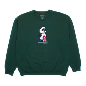 Panda (Embroidered) / Hunter Green / Crew Sweatshirt