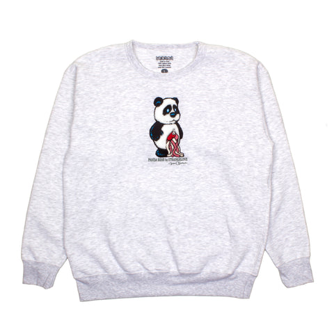 Panda (Embroidered) / Ash Gray / Crew Sweatshirt
