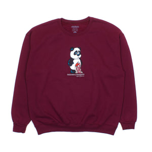 Panda (Embroidered) / Maroon / Crew Sweatshirt