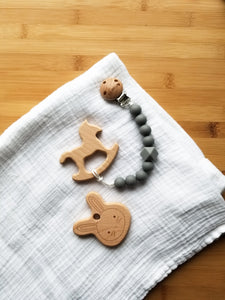Bunny & Rocking Horse Wood Teether set of 2