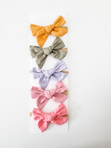 SET 5 Linen Headband Bow