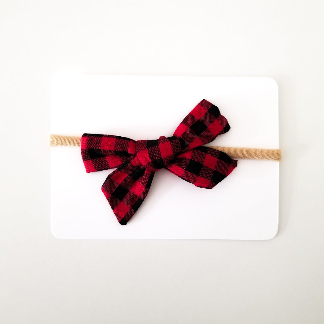 Red Plaid Bow Clip or Headband