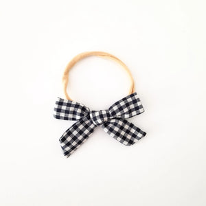 Black Plaid Headband Bow