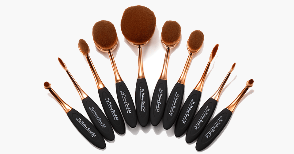 Oval Makeup Brush Set 10 Pcs