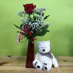 HC-006 Single rose vase with teddy bear