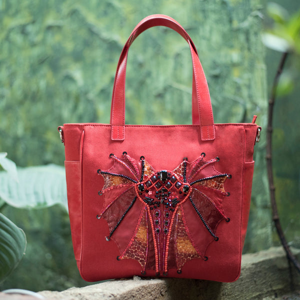 FANCY BAT APPLIQUE SHOPPER