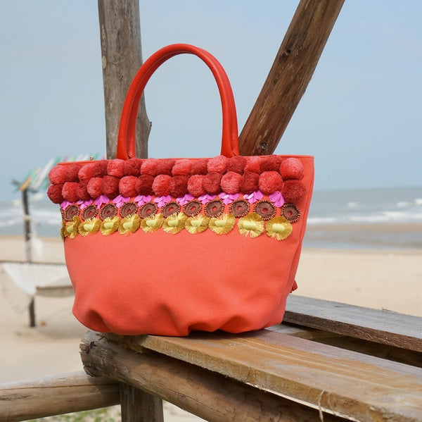 Embellished and Colorful Summer Bucket: Poppy