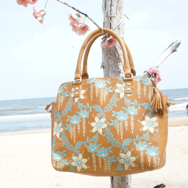 Printed Leather Tote: Eden