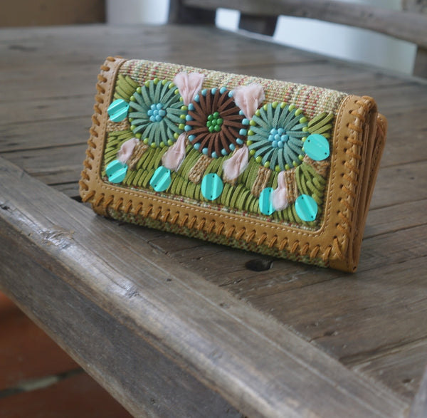 Leather Embroided Wallet: Geranium