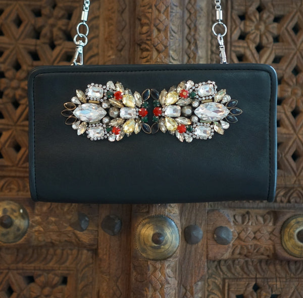 Distressed Leather, Embellished Evening Clutch : Jennifer
