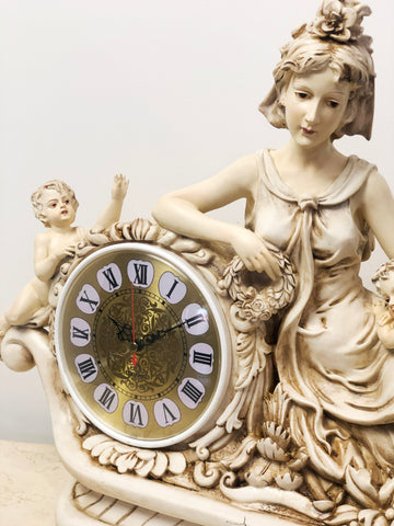 Vintage Lady with Cherubs / Cupids Battery Mantel Clock   eXibit collection
