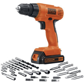 BLACK and DECKER 20 Volt Max Lithium Drill Driver with 30 Accessories