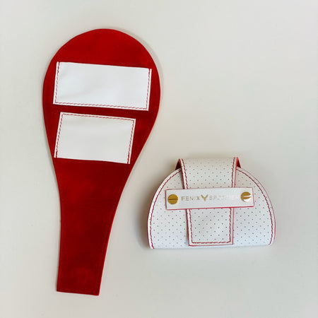 Tennis Lovers Wallet (White Leather / Red Detail / Red Suede)