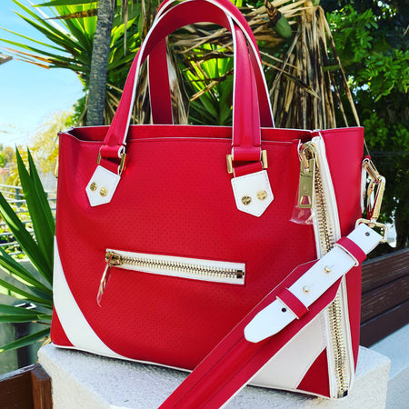 ONE-OF-A-KIND One Bag - Red with White Trim + Gold Hardware