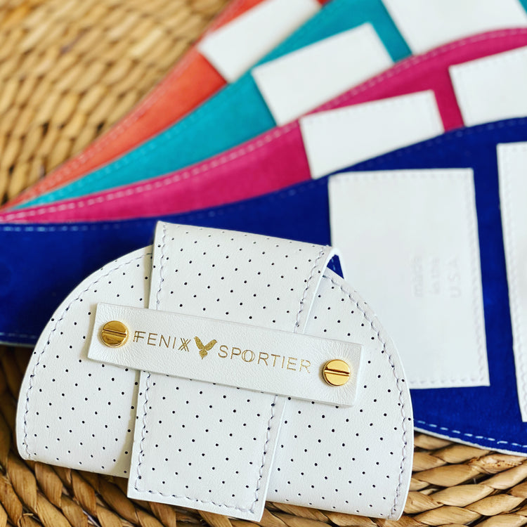 Tennis Lovers Wallet (White Leather / Electric Blue Suede / Gold)