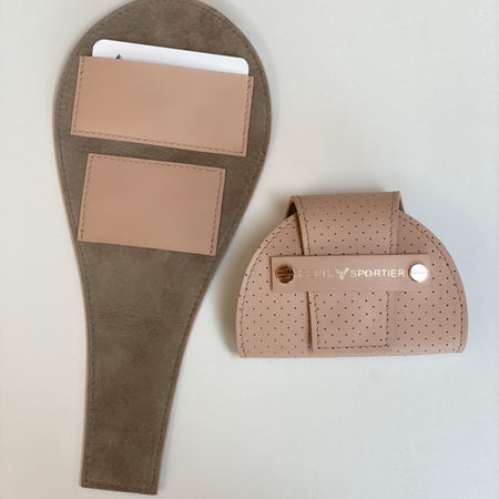 Tennis Lovers Wallet (Blush Leather / Stone Suede / Gold)