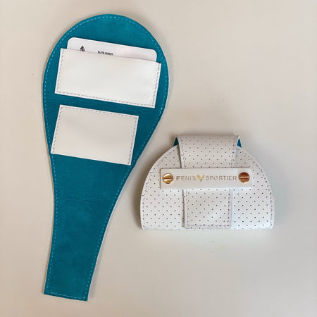 Tennis Lovers Wallet (White Leather / Aqua Suede)