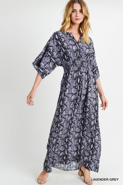 Snake Print Maxi Dress with Dolman Sleeve