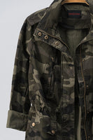 Camo Zip Up Button Down Jacket with Pockets