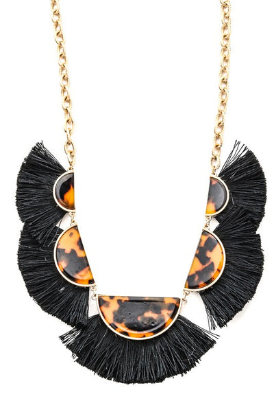 Tortoise Shell Statement Necklace with Black Tassle
